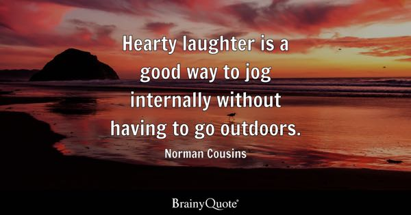 Hearty laughter is a good way to jog internally without having to go outdoors. - Norman Cousins
