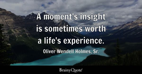 A moment's insight is sometimes worth a life's experience. - Oliver Wendell Holmes, Sr.