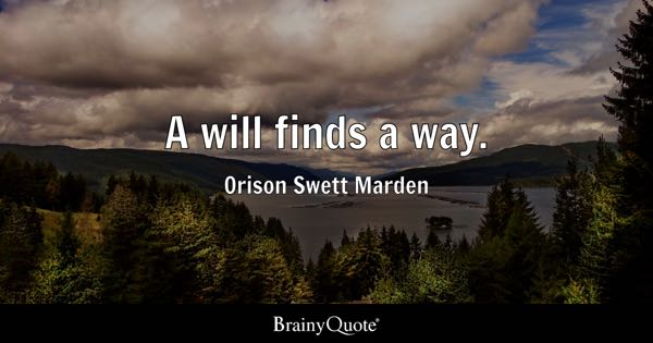 A will finds a way. - Orison Swett Marden
