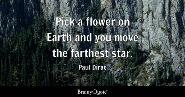 Pick a flower on Earth and you move the farthest star. - Paul Dirac