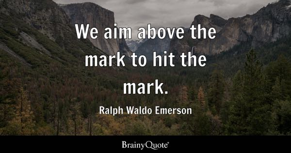 We aim above the mark to hit the mark. - Ralph Waldo Emerson
