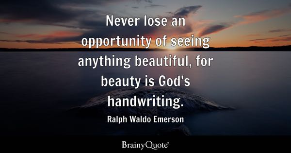 Never lose an opportunity of seeing anything beautiful, for beauty is God's handwriting. - Ralph Waldo Emerson
