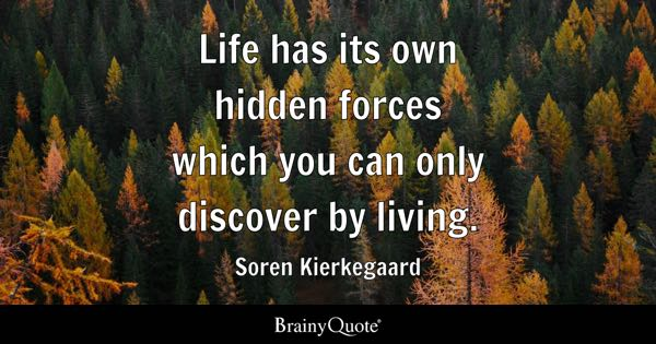 Life has its own hidden forces which you can only discover by living. - Soren Kierkegaard