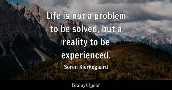 Life is not a problem to be solved, but a reality to be experienced. - Soren Kierkegaard