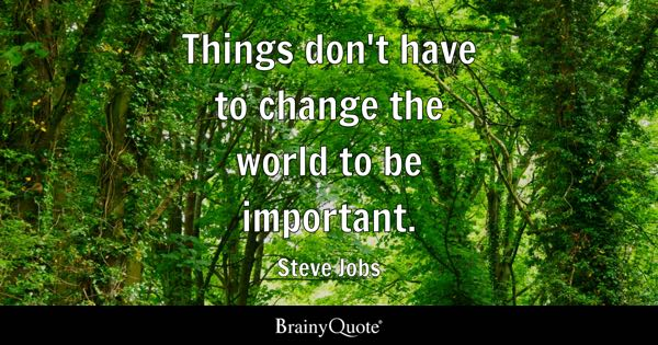 Things don't have to change the world to be important. - Steve Jobs