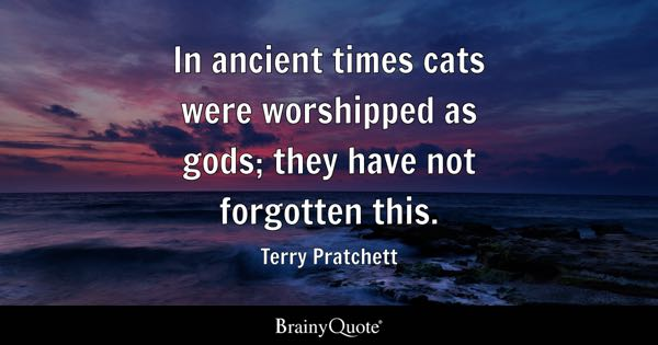In ancient times cats were worshipped as gods; they have not forgotten this. - Terry Pratchett