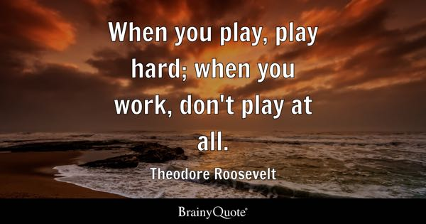 When you play, play hard; when you work, don't play at all. - Theodore Roosevelt