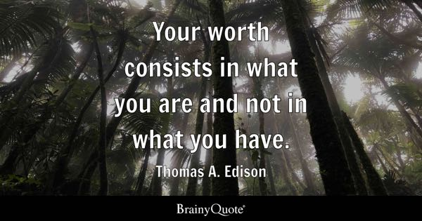 Your worth consists in what you are and not in what you have. - Thomas A. Edison
