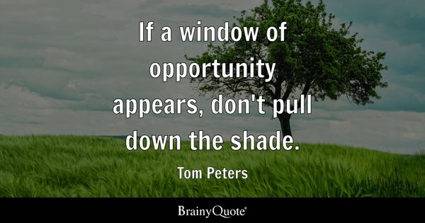If a window of opportunity appears, don't pull down the shade. - Tom Peters