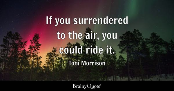 If you surrendered to the air, you could ride it. - Toni Morrison