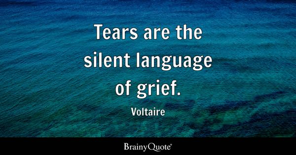 Tears are the silent language of grief. - Voltaire