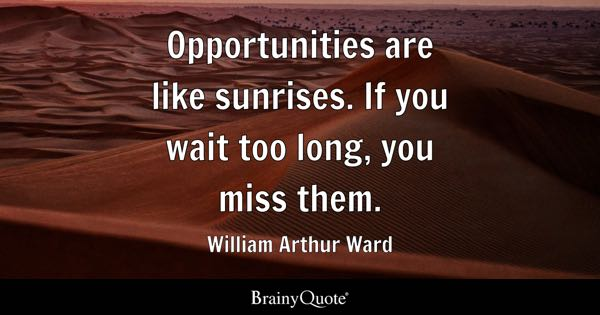 Opportunities are like sunrises. If you wait too long, you miss them. - William Arthur Ward