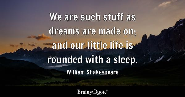 We are such stuff as dreams are made on; and our little life is rounded with a sleep. - William Shakespeare