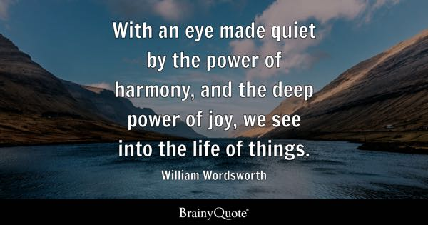With an eye made quiet by the power of harmony, and the deep power of joy, we see into the life of things. - William Wordsworth