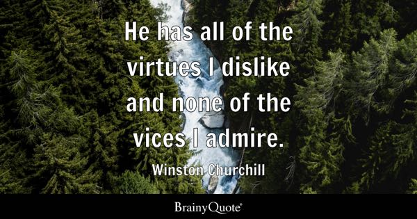 He has all of the virtues I dislike and none of the vices I admire. - Winston Churchill