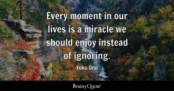 Every moment in our lives is a miracle we should enjoy instead of ignoring. - Yoko Ono